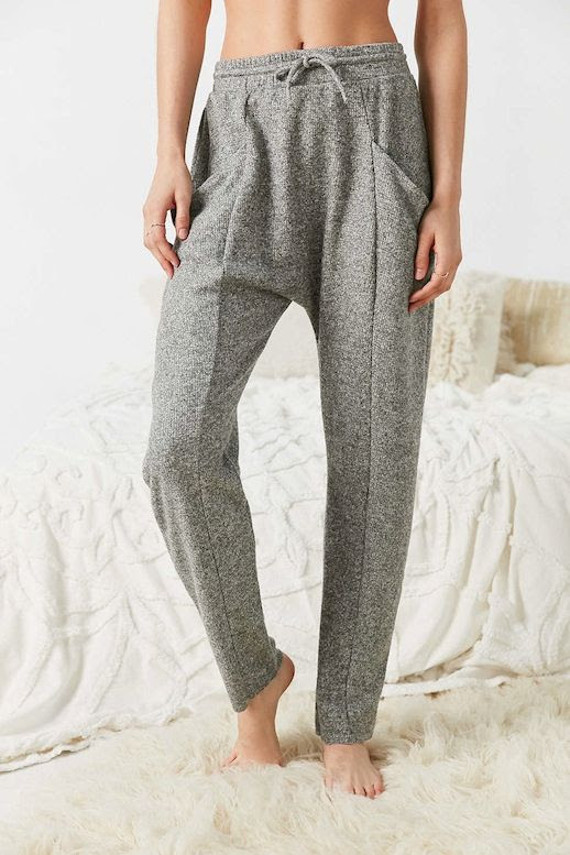 Le Fashion Blog Winter Style Light Grey Knit Low Crotch Pjs Sweatpants Lounge Pants Via UO