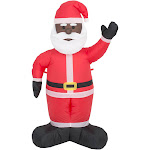 Inflatable Christmas Black Santa Claus Decoration (Inflatable Size: 4FT) | Ugly Christmas Inflatables