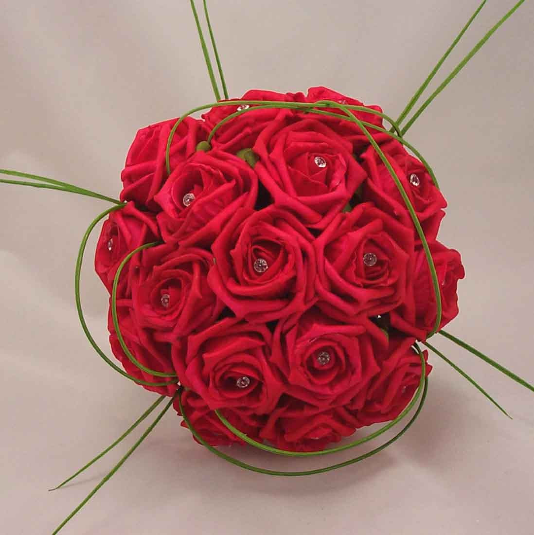 Bridal Bouquets  Red Rose Diamante Bridal Bouquet  Silk Wedding Flowers