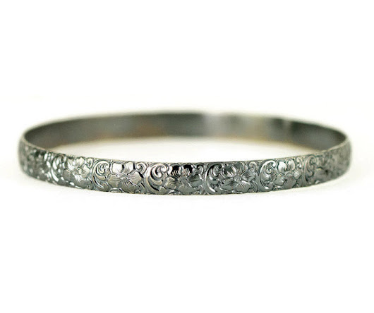 Sterling Flower Bangle - 7mm Wide Pattern Layering Bracelet