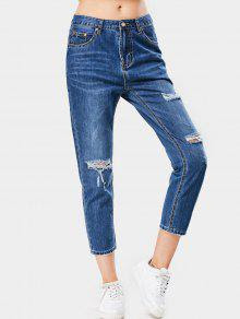 Ninth Bleach Wash Distressed Tapered Jeans