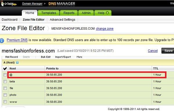 GoDaddy DNS Manager A Host Setting For Naked Domain