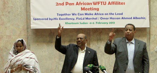 A Pan-African Conference on Trade Union in Sudan. President Bashir Hassan al-Bashir standing in attention. by Pan-African News Wire File Photos
