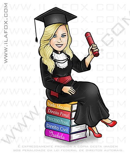 caricatura formanda, caricatura formatura, caricatura para formatura, caricatura direito, caricatura livros, by ila fox