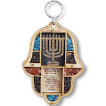 My Daily Styles Jewish Wooden Hamsa Menorah Blessing for Home - Good Luck Wall Decor with Simulated Gemstones
