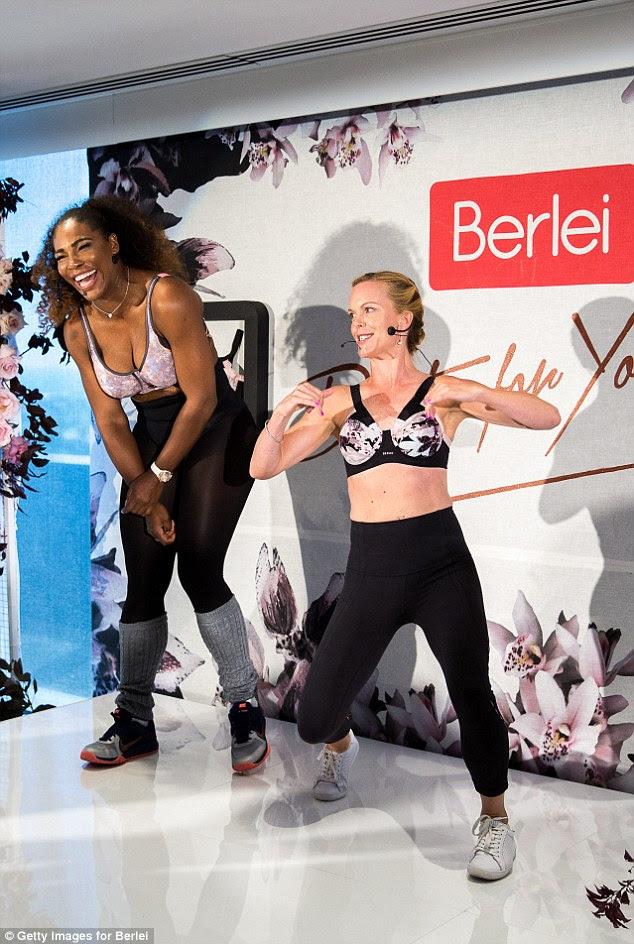 Tendo uma bola: Serena foi retratado radiante durante a rotina de alta energia