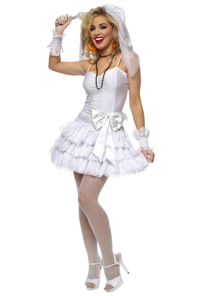 ladies costume fancy dress up 80's virgin bride madonna