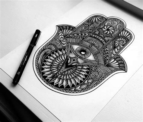hamsa hand drawing sacred geometry tattoo hamsa hand