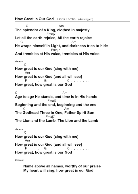 How Great Is Our God Lyrics And Chords Hillsong