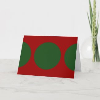 Green Circles on Red Greeting Card