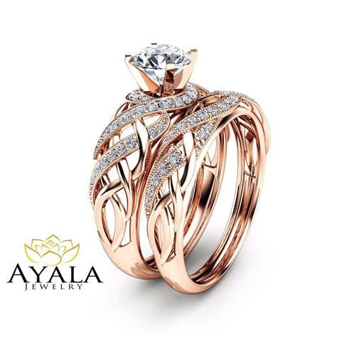 Diamond Bridal Set in 14K Rose Gold Unique Engagement