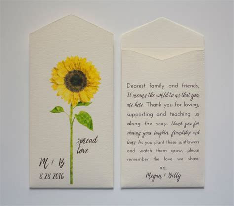 Sunflower Seed Packet Wedding Favor Envelopes   Many