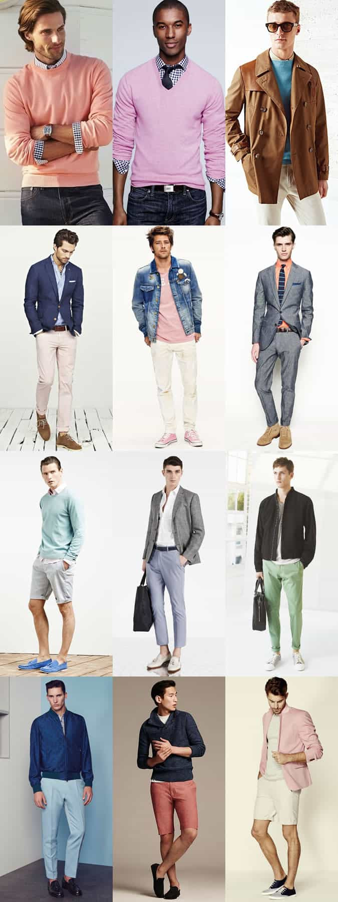 Men's Pastel Coloured Clothing - Outfit Inspiration Lookbook