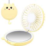 Mini Necklace Fan, Portable Desk Fan, Personal Foldable Handheld Fan, Yellow
