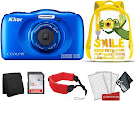 Nikon Coolpix W150 Digital Camera (Blue) Bundle w/ Yellow Backpack (Intl Model)