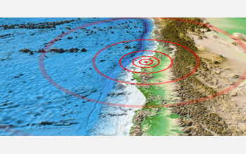 Map of the rupture site of the 8.8-magnitude earthquake in Chile.