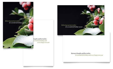 Holly Leaves Greeting Card Template   Word & Publisher