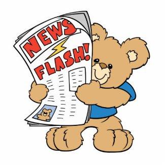 News Flash Teddy Bear Acrylic Cut Outs