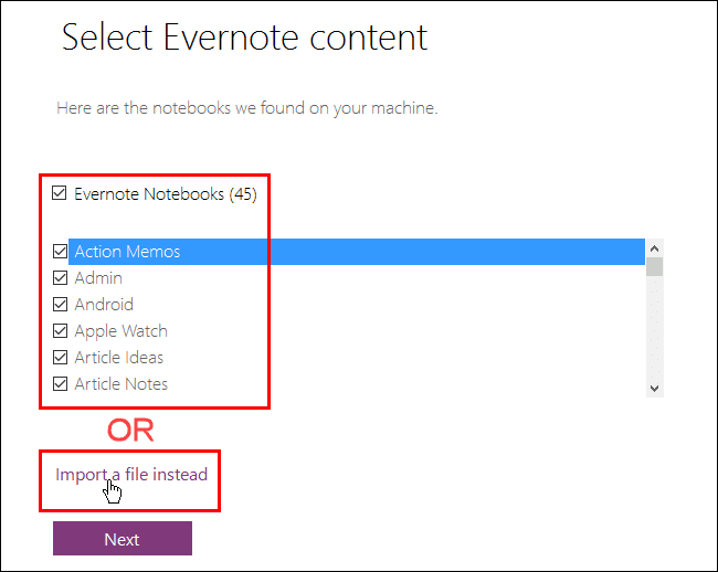 Import your notes on your local machine or with Evernote exported file(.enex). Evernote to OneNote.