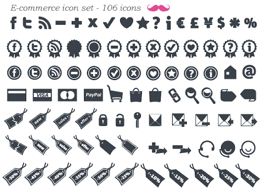 Free E-Commerce Icon Set Vector (106 minimal icons) - 365psd
