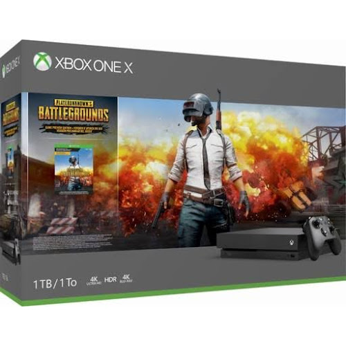 Xbox One x 1TB PUBG Console Bundle - Digital Download of PUBG - Black Controller & Xbox One x Console - Custom AMD Octa-core CPU - 12GB Ram 1TB HD - 4