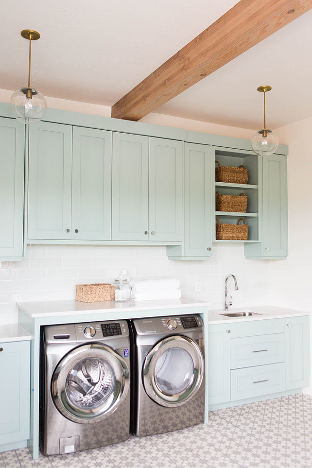 Coastal Blue Laundry Room Design Home Bunch Interior Design Ideas
