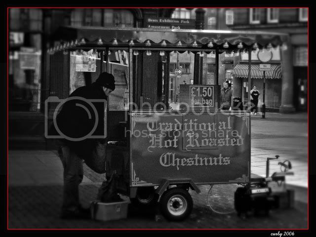 Selling roast chestnuts, Ocean Road, South Shields