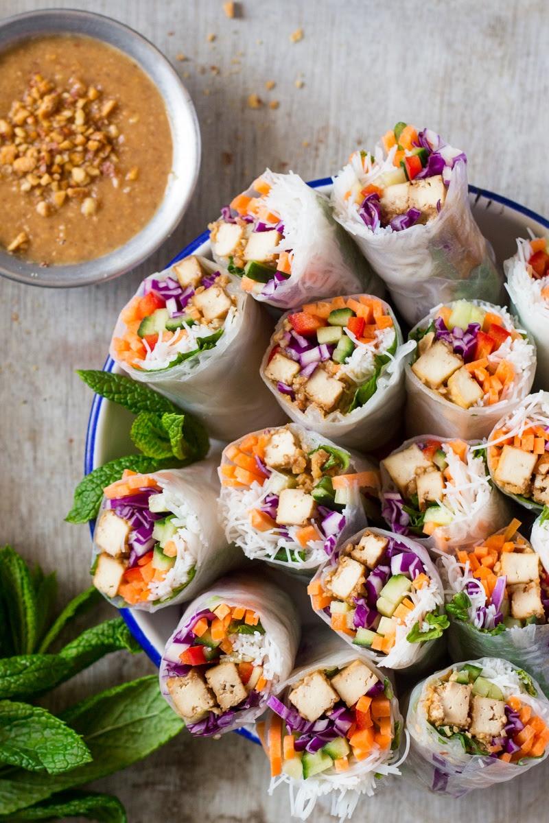 Tofu rice paper rolls - Lazy Cat Kitchen