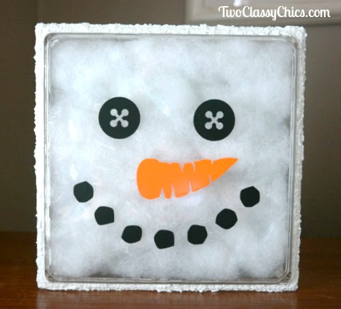 Snowman Holiday Decoration Made with Fillable Craft Block - The Classy Chics