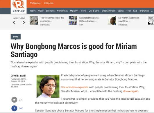 "Disingenuous: A response to ""Why Bongbong Marcos is good for Miriam Santiago"" 