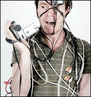 man wrapped in video tape