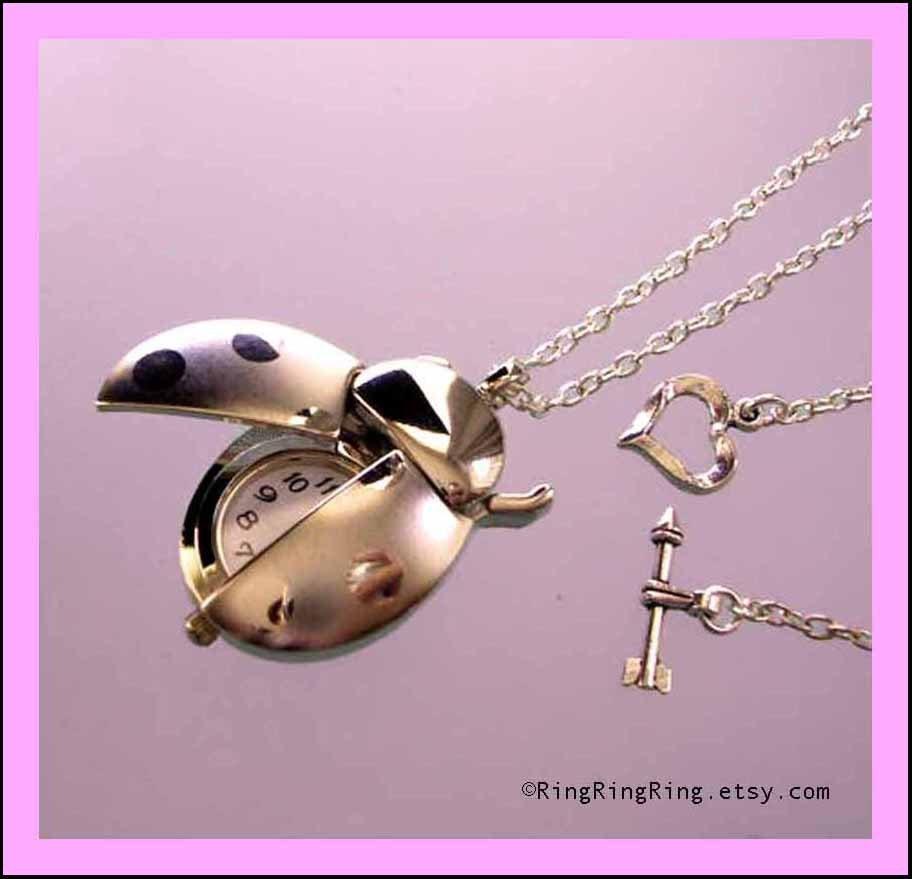 movable ladybug watch necklace jewelry, ladybird necklace, silver necklace jewelry, heart and arrow clasps, Birthday gift, girl friend