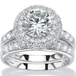 3.16 TCW CZ 2-Piece Bridal Set in 10k White Gold