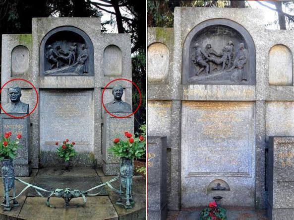 Prima e dopo: cerchiati i busti di Alberto e Antonio Ascari, padre e figlio piloti, sottratti al Monumentale (Fotogramma)