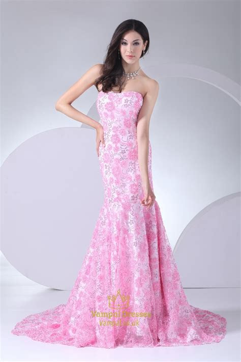 Pink Wedding Dress With Long Train, Pink Floral Mermaid