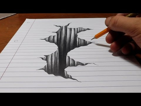 Trick Art on Line Paper - Drawing 3D Hole