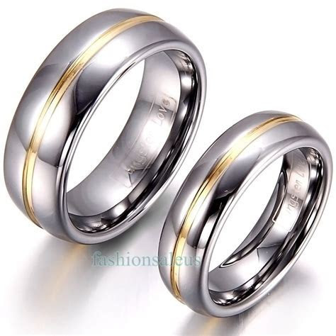 Details about 8mm/6mm Gold Groove Inset Tungsten Carbide
