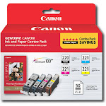 Canon - PGI-220, CLI-221 and Photo Paper 4-Pack Standard Capacity - Black/Yellow/Cyan/Magenta Ink Cartridges + Photo Paper - Black/Cyan/Magenta/Yellow