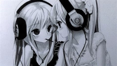 drawing  anime girls  headphones graphite pencil