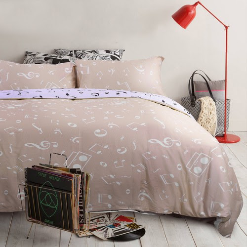 Music Note Queen Bedding Set - Beige