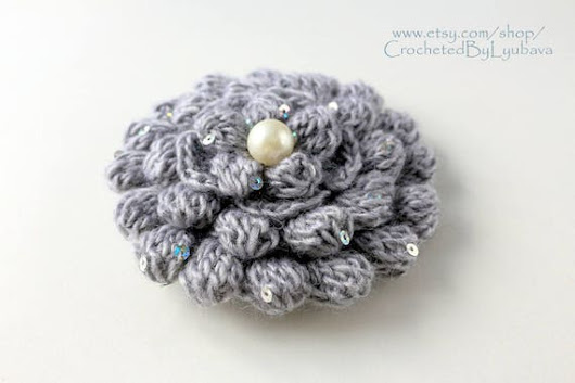 Crochet Brooch  Gray Flower  3d Flower  Large Flower