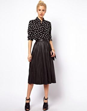 Image 1 of ASOS Midi Skirt in Pleated Leather