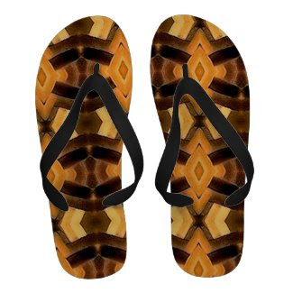 Brown and Black Basket Weave Pattern Flip Flops