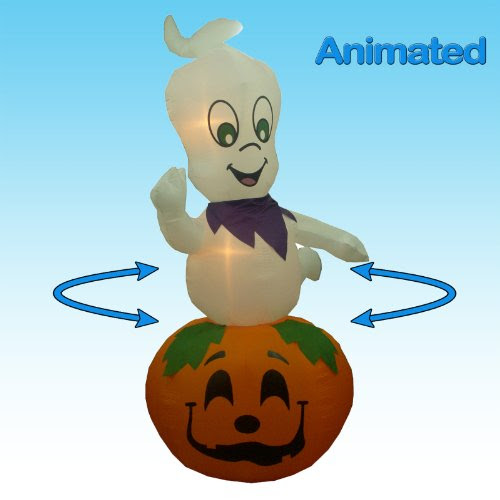 Jumbo 9 Foot Animated Halloween Inflatable Ghost on Pumpkin Yard Decoration