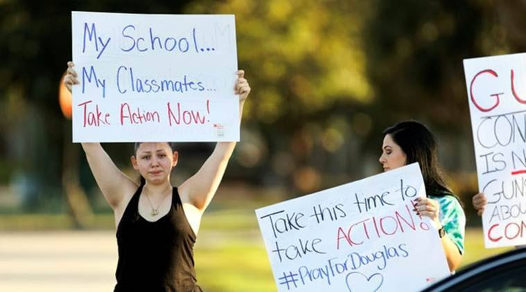 assault rifle ban, gun control protest, oregon, portland, florida high school shooting, indian express