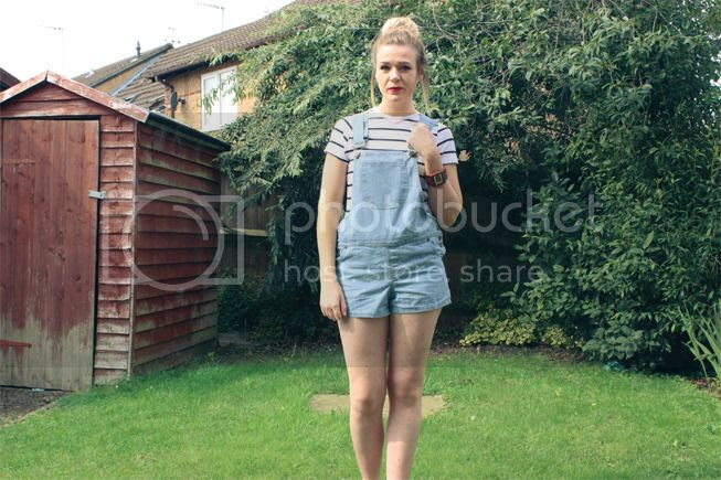 light denim dungarees fashion outfit stripe top