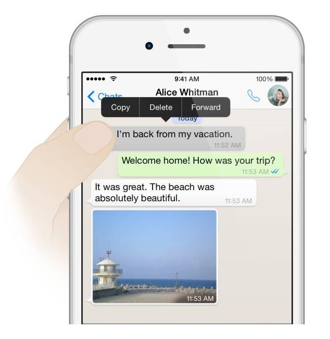 Borrando mensajes en WhatsApp
