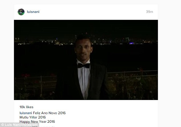 Former Manchester United winger Nani was dressed in a tuxedo as he celebrated the New Year