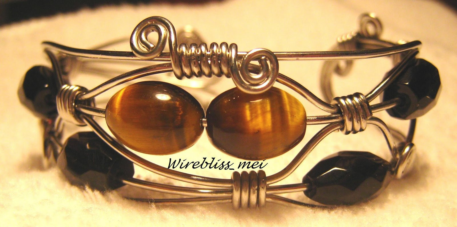 Tiger Eye & Faceted Smoky Quartz Bangle