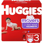 Huggies Little Movers Diapers, Size 3, 162 Count, Multicolor